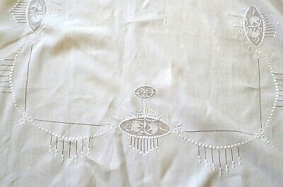 Vintage Art Deco Banquet Tablecloth Hand Embroidery Uu514