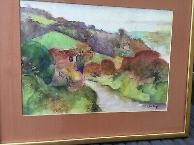 Peter Coviello original watercolour, hand signed dated 1982 Welsh landscape
