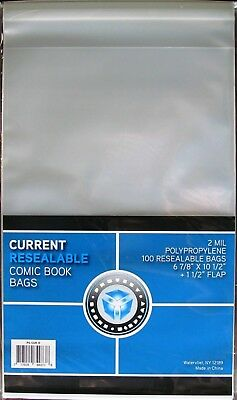 1000 New CSP RESEALABLE CURRENT Comic Book Archival Poly Bags 6 7/8 X 10 1/2
