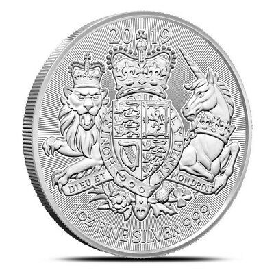 1 - 2019 Great Britain The Royal Arms- 1 oz. 999 Pure Silver Coin - BU - in Cap