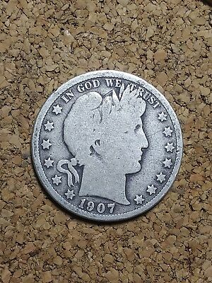 1907 P 50C Barber Half  Circulated  90 % Silver US Coin G+ BH215  FREE SHIPPING