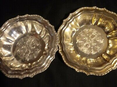 "Vintage Lot of 2 Silverplate 6"" Ornate Bowls Made in Italy for Avon"
