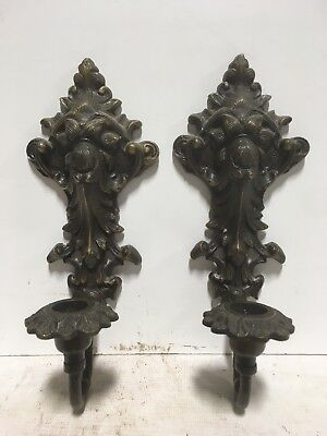 VTG. Victorian Art Nouveau Design Wall Mounted Sconce Solid Brass Candleholders