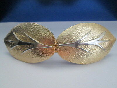 "Vtg ""Mimi Di N "" 1983 Gold Tone Leaves Belt Buckle Silver Tone Leaf Stalk"