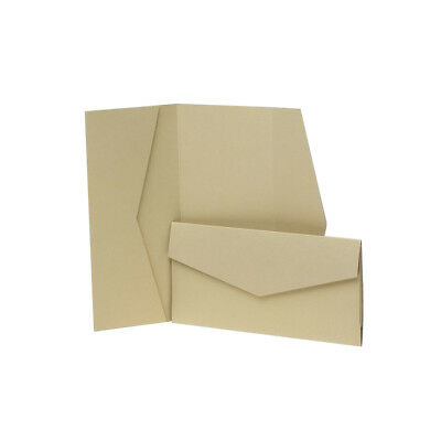Light Gold Pearlescent Pocketfold Wallets with envelopes. DIY Wedding Invites
