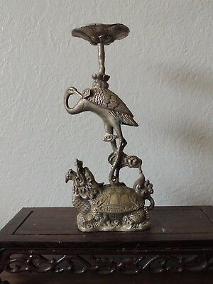 A. Chinese  Brass Longevity Crane Dragon Turtle Statue Candle Holder Candlestick
