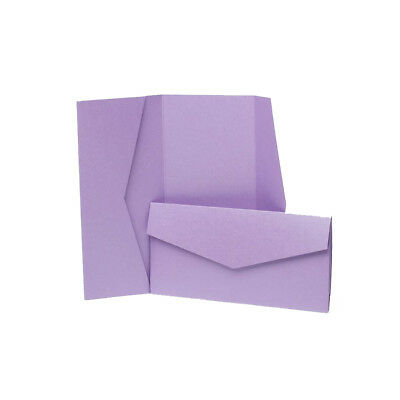 Mauve Pearlescent Pocketfold Invites with envelopes. DIY Wedding Cards