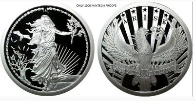 1 Oz Silver Proof *Enemy Unknown-Arise Round Coin Double Obverse Original Sbss