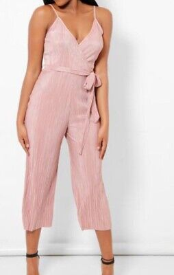 New Look Pale Pink Wrap V Neck Jumpsuit Dress Women Pink playsuit 8 - 20