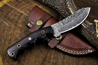 NYC Forged Damascus Steel Full Tang Exotic Wenge Wood SHEEPS-FOOT Hunting Knife