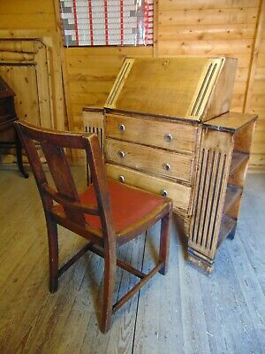 Solid oak 1920's fall front side by side bookcase writing bureau with oak chair