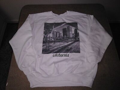 LS White CALIFORNIA, LOS ANGELES Skyline, Old English Letter, Urban Sweat Shirt