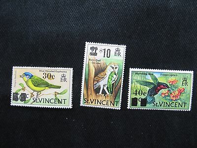 St. Vincent: 1973 3 X Bird Stamps of 1970 Surcharged to $10 Unmounted mint