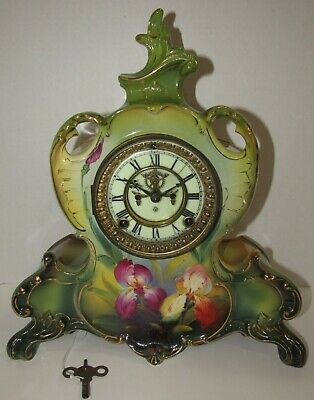 "Antique Ansonia Royal Bonn ""La Vendee"" Porcelain Clock, Time/Strike, 8-Day"
