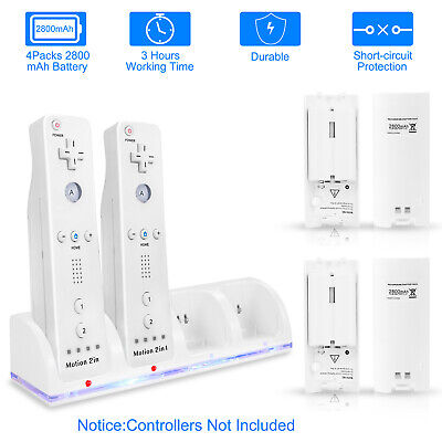 4Pcs Remote Controller Charging Dock + 4 Rechargeable Batteries for Wii Nintendo