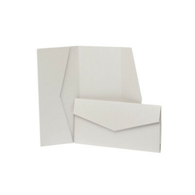 Pale Silver Pearlescent Pocketfold Invites with envelopes. DIY Wedding Cards