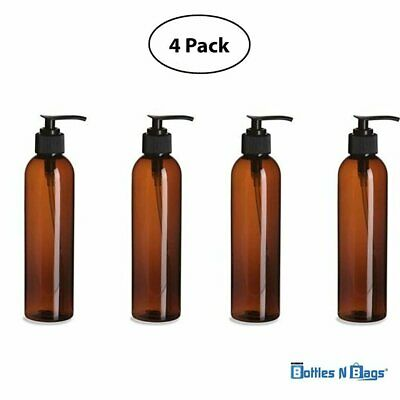 Bottles N Bags 4 Pack 8 oz. Amber Brown Lotion/Soap PET Plastic Cosmo Bottle...