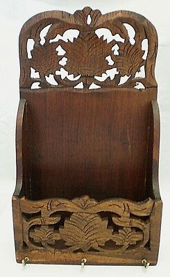 Vintage Wooden Fretwork Letter Rack