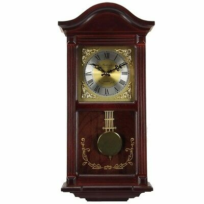 "Bedford Clock Collection Mahogany Cherry Wood 22"" Wall Clock With Pendulum A"