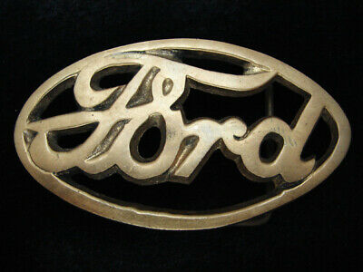 RB09128 VINTAGE 1970s **FORD** MOTOR COMPANY LOGO SOLID BRASS BARON BELT BUCKLE