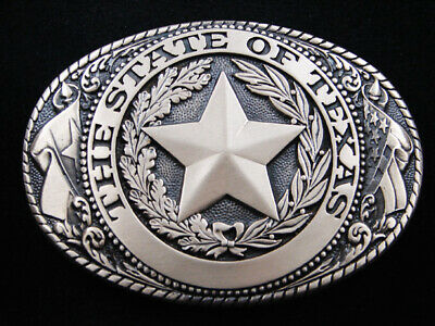 RH01166 *NOS* VINTAGE 1970s **THE STATE OF TEXAS** SOLID BRASS BELT BUCKLE