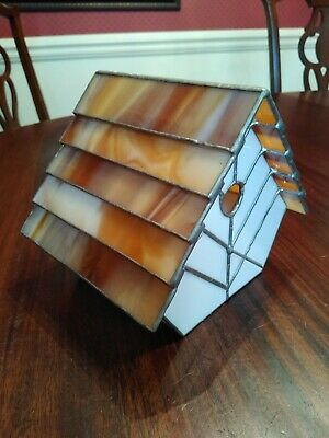 Bird House Stained Leaded Glass Earth Tones Brown Ecru Fallow Purely Decorative