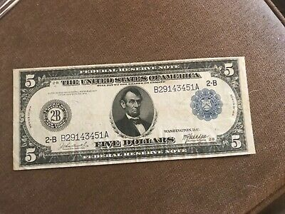 New York, NY , Federal Reserve bank  , 1914 $5 . Burke- MacAdoo signatures ,XF