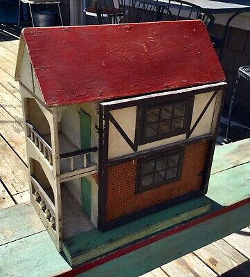Antique English Tudor Cottage Folk Art Dollhouse W/ 2 Balconies