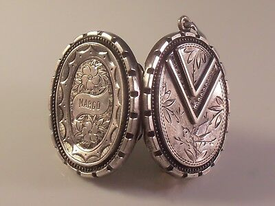 Vtg Aesthetic Victorian Silver Locket, Etched Birds & Flowers