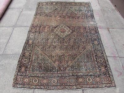 Antique Hand Made Traditional Persian Rug Oriental Wool Faded Blue Rug 200x130cm
