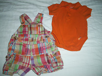 The Children's Place Madras Plaid Short Overalls w/Shirt - size 3-6 months