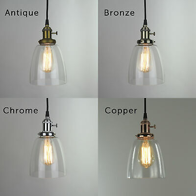 Modern Industrial Vintage Loft Style Ceiling Light Fittings Glass Pendant Shade