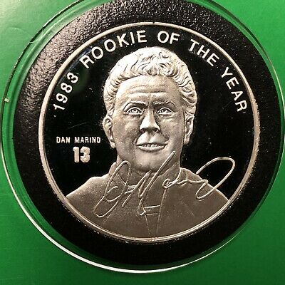 Dan Marino 1983 Rookie Of The Year 1 Troy Oz .999 Fine Silver Round Proof Coin