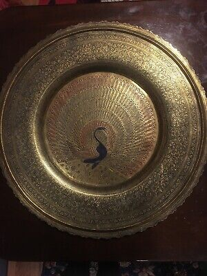Brass Round Engraved Embossed Hand Hammered Vintage Large Tray Dish Display