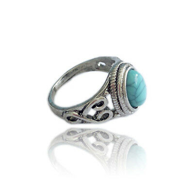 Silver Women Ladies Vintage Boho Bohemian Style Turquoise Ring Jewelry DS