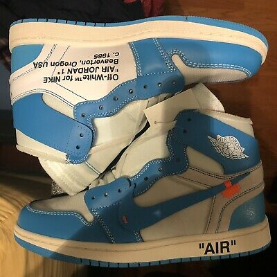 5a3ccf880c1 NIKE AIR JORDAN 1 x off white UNC blue The Ten Men's Size 10.5 ...
