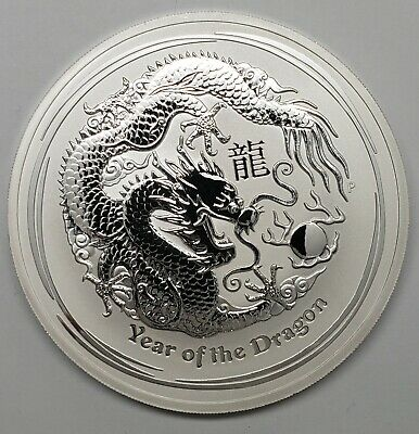 2012 Australia Lunar Year of the Dragon 10 oz .999 Fine Silver Coin with Capsule