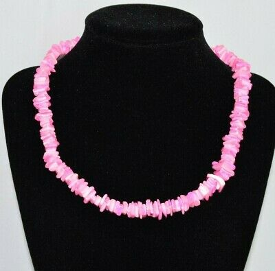 "Hawaii Women Surfer Jewelry Pink Nugget Puka Shell Necklace 16"" Long Chunky Surf"