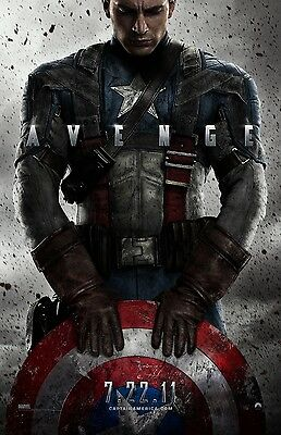 Captain America movie poster print  : Avenge : 11 x 17 inches : Chris Evans