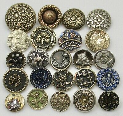 Antique Vintage Victorian Picture Buttons ~ Floral Designs ~ Mixed Lot of 23