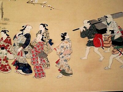 Antique Japanese Geisha Women And Men Woodblock Print