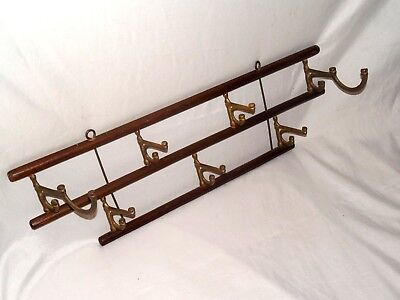 Antique Brass And Wooden Rods Wall Mount Seven Hooks Hat Key Hanger