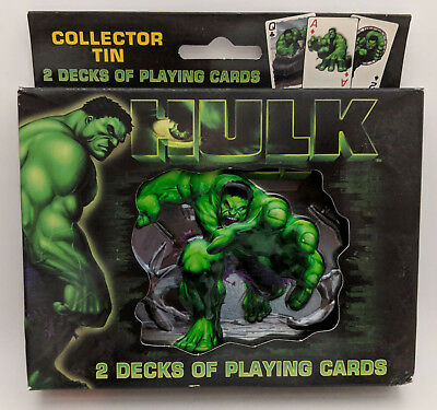 THE HULK Collector Tin 2 Decks of Bicycle Playing Cards, Factory Sealed