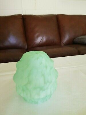 Vintage 1930s milk green glass light shade. 14cm. high 10cm. at base