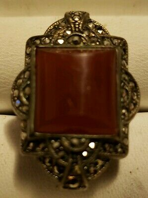 """Antique Carnelian & Marcasite Stones Sterling Silver 925 Ring size 5 1/2"""" 6.4g"""