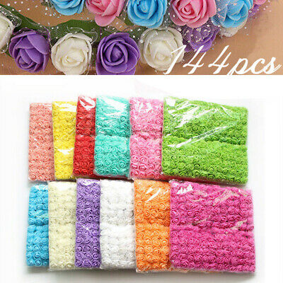 144Pcs/ Pack Mini Foam Artificial Rose Flower Bouquet Wedding Decor