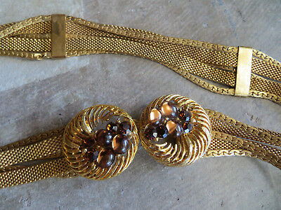 Vintage Gold Multi Layered Chain Mesh Glass Faux Pearls Cinch Belt Necklace