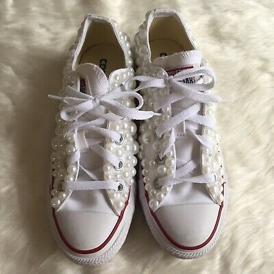 6ac961e0e110 Women s 6 Converse DIY Pearl Embellished Sneakers