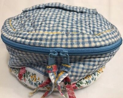Vera Bradley Retired Rare Blue Gingham Travel Cosmetic