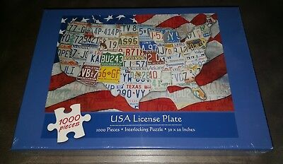 Zabawki Puzzle USA License Plate Puzzle 1000 Pieces 30x20 NEW Sealed FREE SHIPPING!